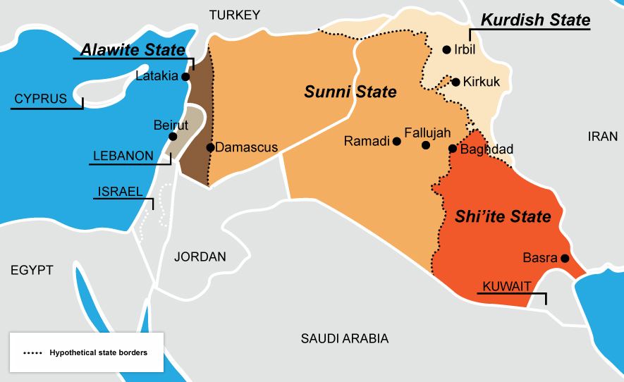 A hypothetical re-drawing of Iraq and Syria