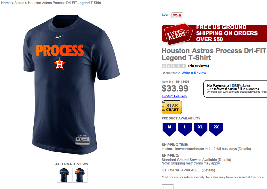 quality design 93a6d 0f49f The Houston Astros are selling a t-shirt that says 'Process ...