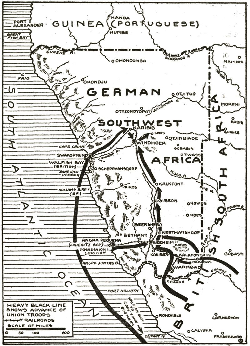German colonies in Southwest Africa and elsewhere come under attack