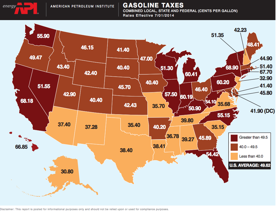 Map How High Are Gas Taxes In Your State Vox