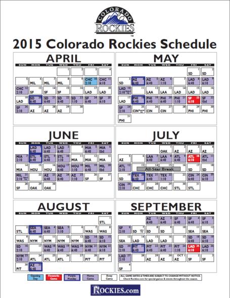 Colorado Rockies Printable Schedule 2016   Search Results   Calendar ...