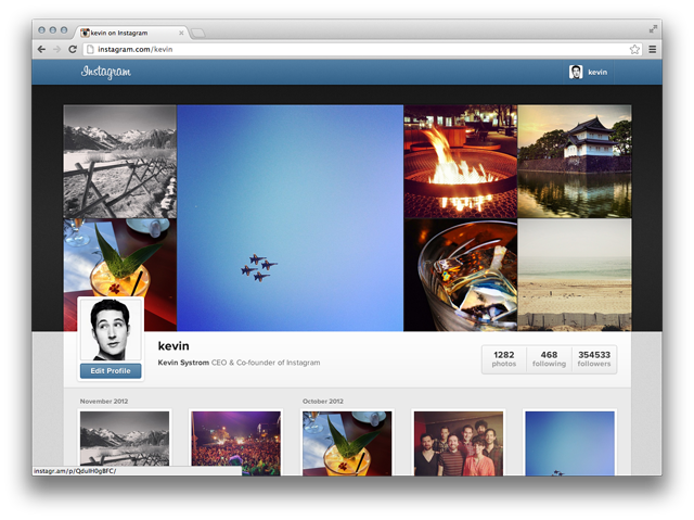Instagram on web browser