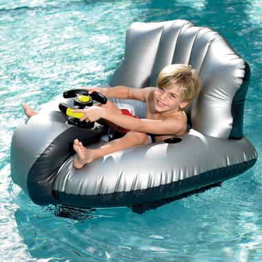 Inflatable Bumper Boat, shown with a young boy smiling, though sitting uncomfortably, in it