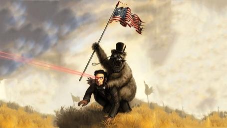Abraham_lincoln_laser_eyes_american_flag_grizzly_bear_riding_medium
