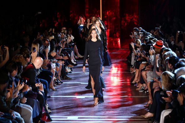 Models walk the runway during the Alexandre Vauthier show as part of the Paris Fashion Week (Getty Images)