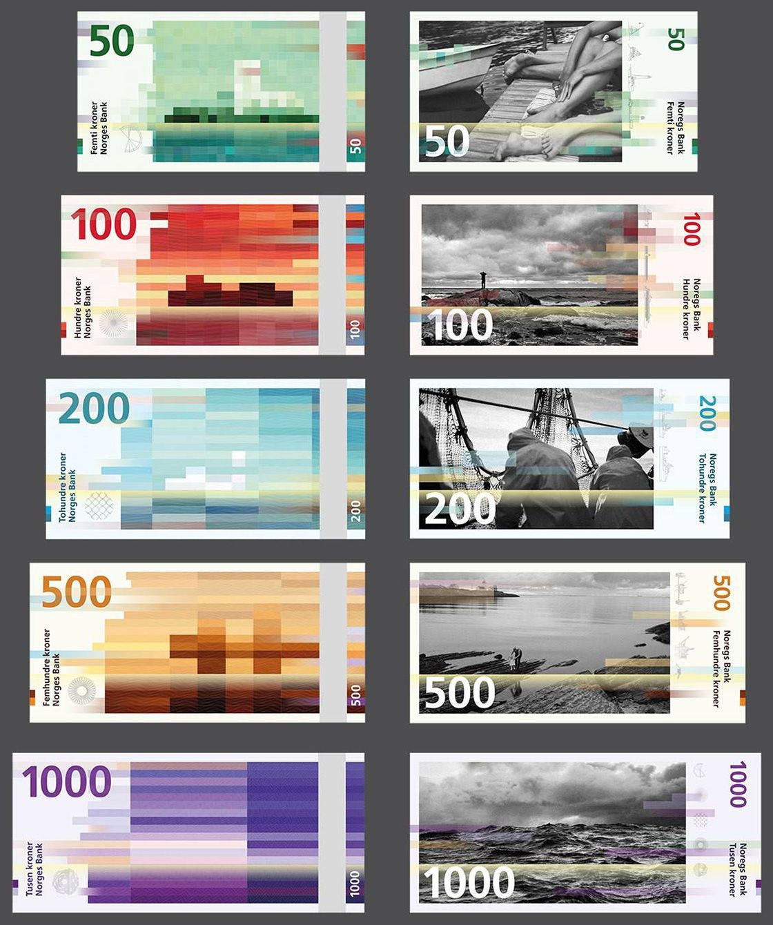 Norway S New Banknotes Are A Beautifully Pixelated Blur