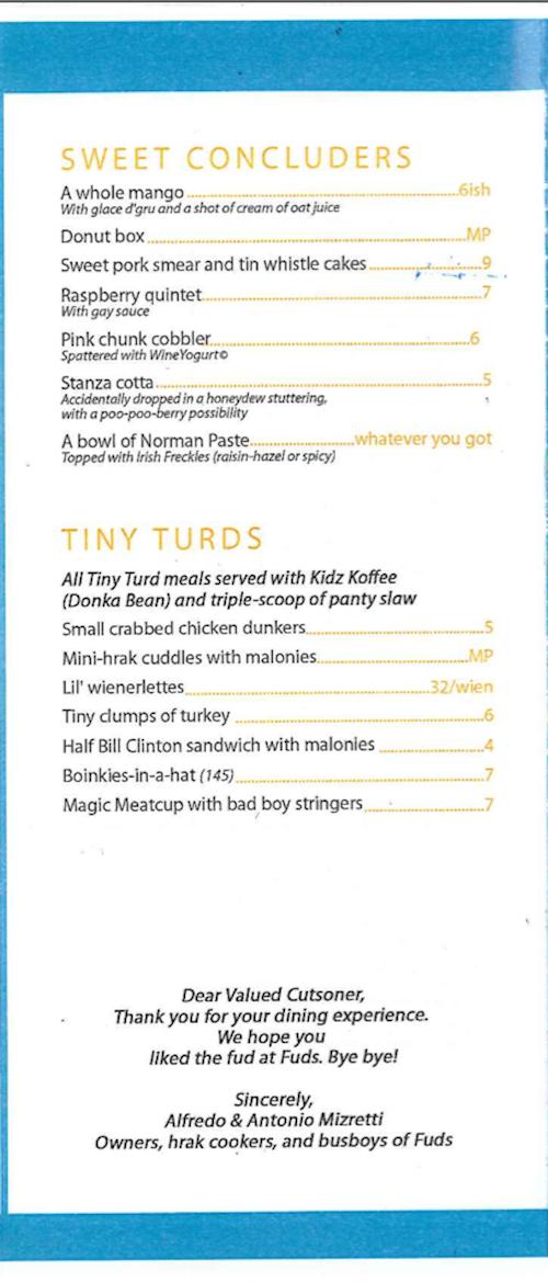 fake restaurant menu