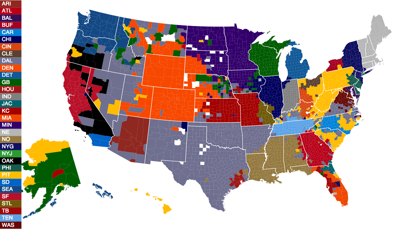 Maps And Charts That Explain Sports In America Vox - Map of us cities with football teams
