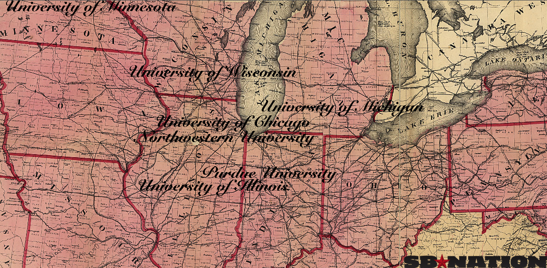 the original seven big ten universities adapted version of map from library of congress