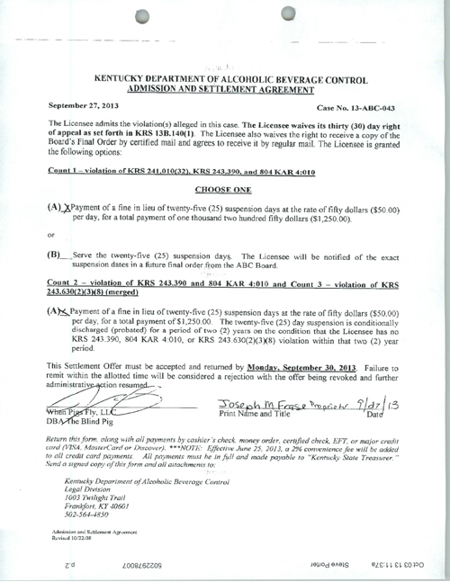 Read The Blind Pigs Admission And Settlement Agreement With The Abc