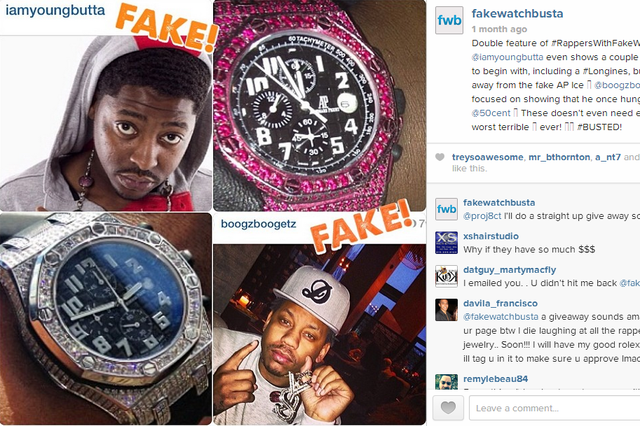 Instagram account busts rappers wearing fake designer watches the verge for Watches rappers wear