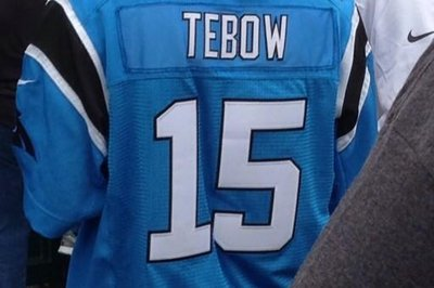 This Panthers fan has a Tim Tebow jersey