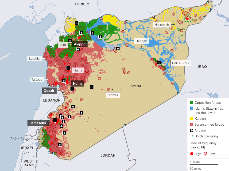 Image result for current map of syria with isis control