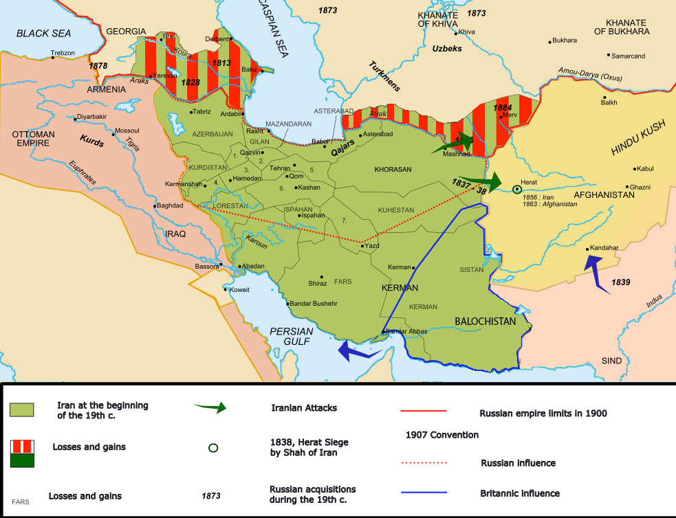 how irans borders changed in the early 1900s