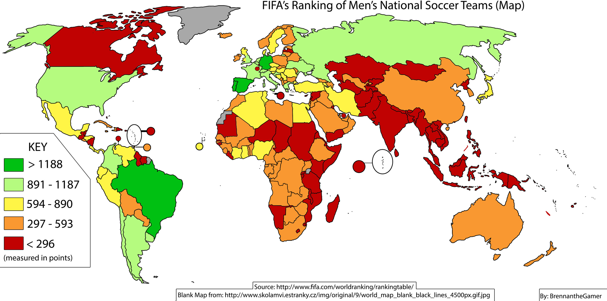 22 maps that explain the world cup vox fifas rankings of the worlds national teams as of june 5 2014 gumiabroncs Gallery