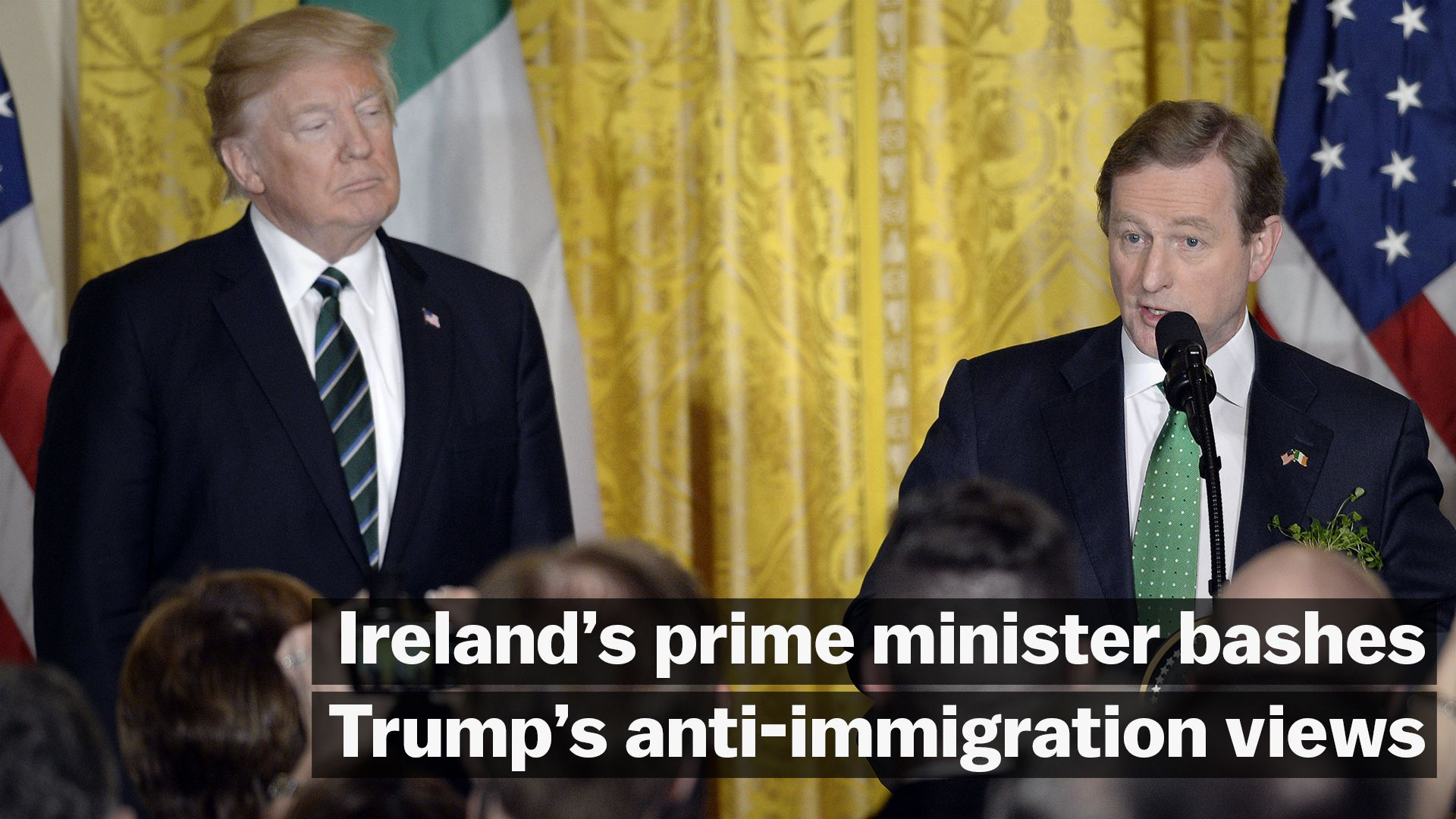 Watch Ireland's prime minister bash Trump's anti-immigration views just feet away from Trump