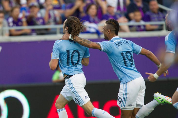 Mix Diskerud celebrates with Khiry Shelton after scoring their inaugural goal, Courtesy of NYCFC