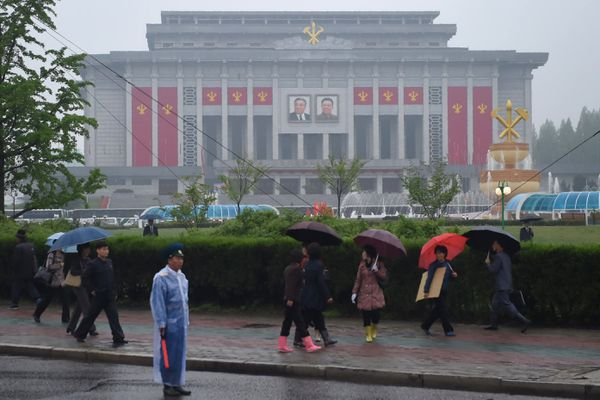 The April 25 Palace, venue of the Workers' Party congress, is seen ahead of the event in Pyongyang.