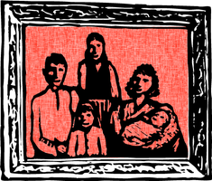 Illustration of a family picture of four people in a frame.