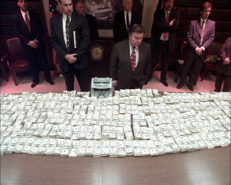 stacks of seized money