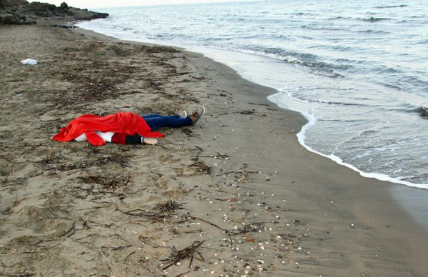 The body of one of the victims in Bodrum, Turkey.