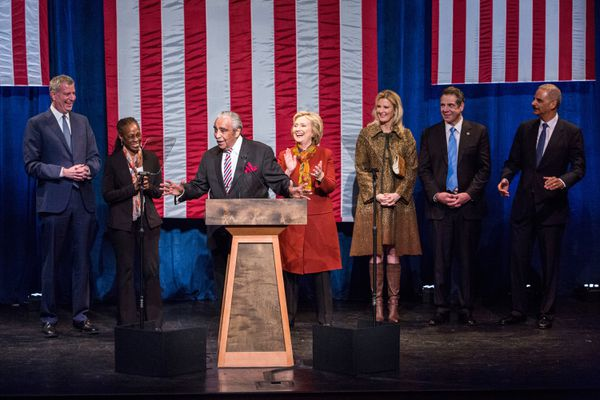 Hillary Clinton gives her speech on race with New York City Mayor Bill de Blasio, City first lady Chirlane McCray, Rep. Charlie Rangel, Andrew Cuomo, Cuomo's partner Sandra Lee, and former Attorney General Eric Holder.