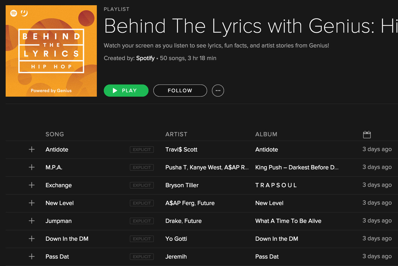 Spotify and Genius Partner for