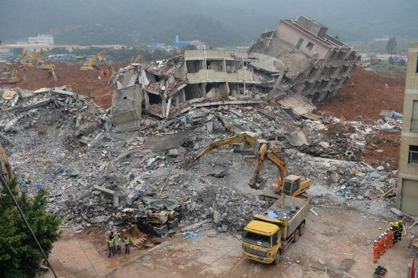 Collapsed buildings in Shenzhen after the landslide.