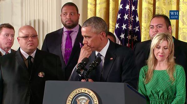 President Obama breaks into tears at the press conference announcing the gun control measures.