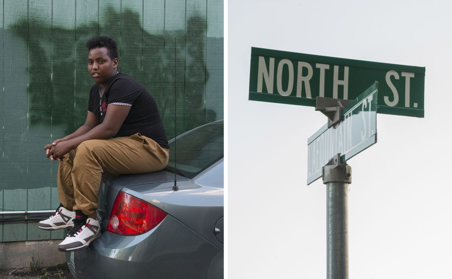 Left: A boy sitting on the hood of a car. Right: The street sign for North Street.