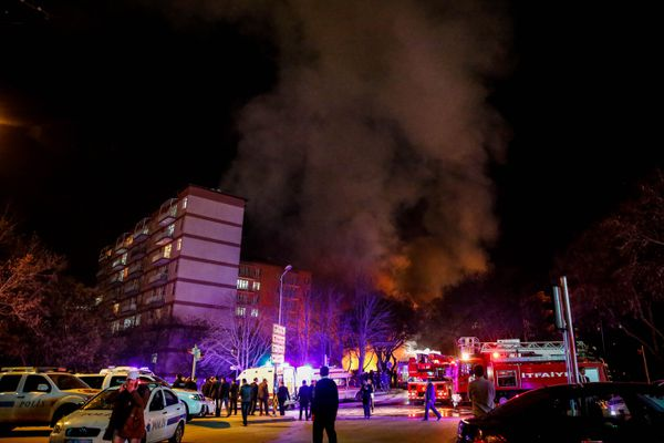 Smoke from the blast site in Ankara.