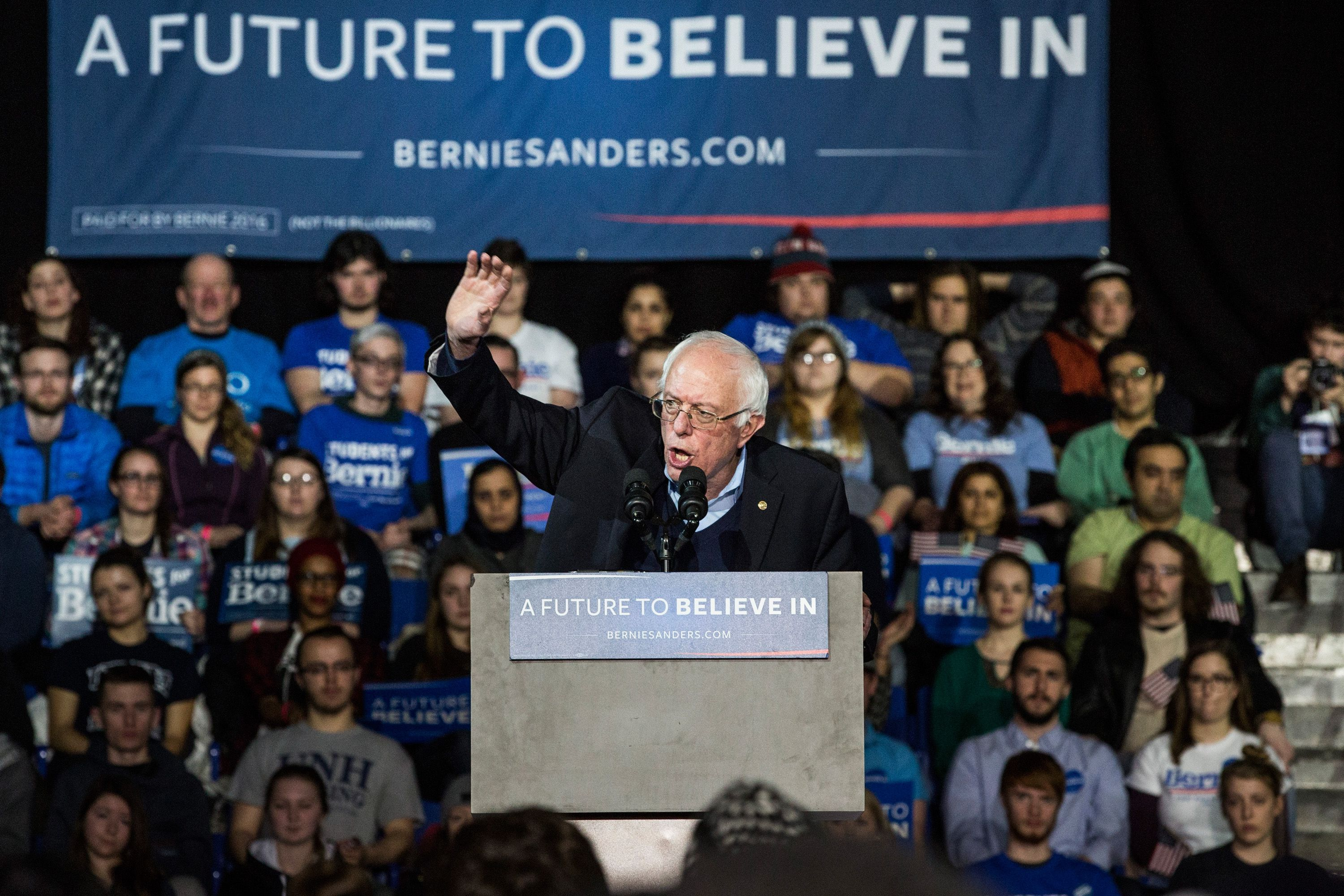 Bernie Sanders Campaigns In NH One Day Before Primary