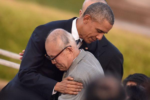 Obama with A-bomb survivor Shigeaki Mori