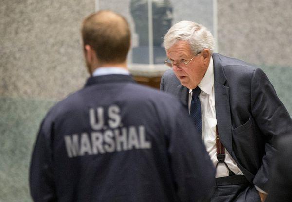 Hastert in court in October.
