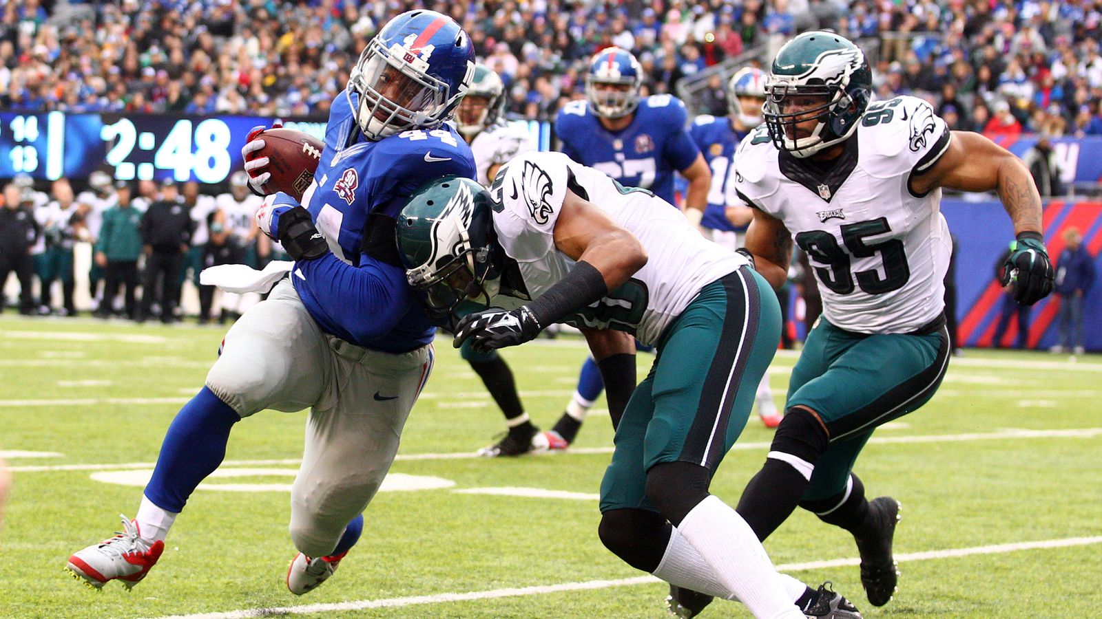 sports odds today giants eagles box score