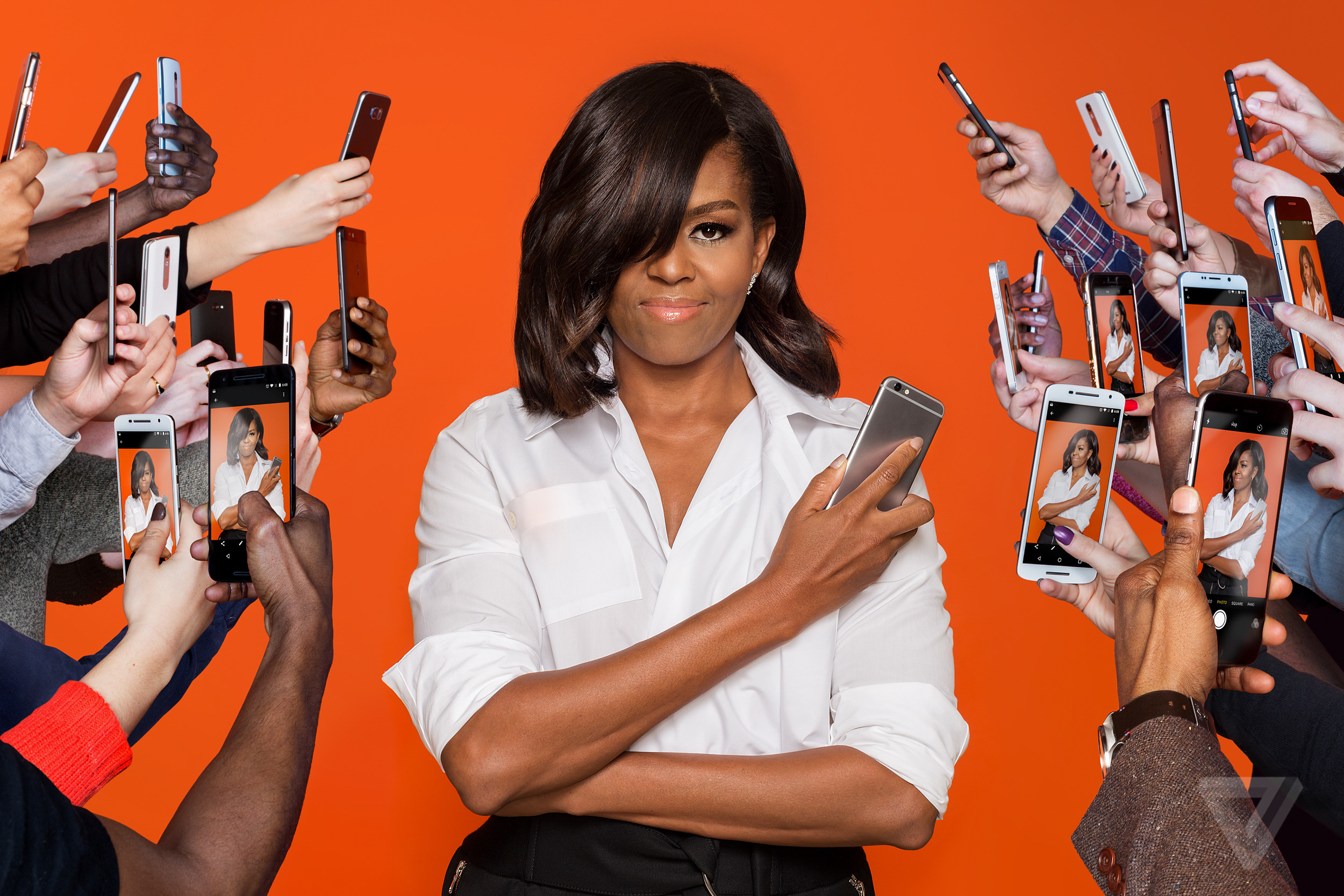 Portrait of Michelle Obama with phones around her