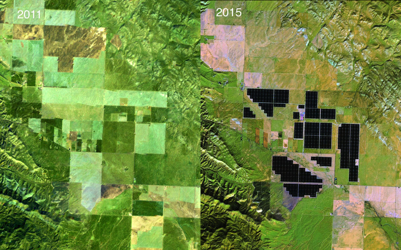"Images taken by the Enhanced Thematic Mapper Plus instrument onboard Landsat 7 and the Operational Land Imager onboard Landsat 8. Source: U.S. Geological Survey (USGS) Landsat Missions Gallery ""Topaz Solar Farm, California,"" U.S. Department of the Interior / USGS and NASA. (<a href='http://climate.nasa.gov/state_of_flux#Topaz-Solar-Farm-930px-57.jpg'>NASA, World of Change)</a>"