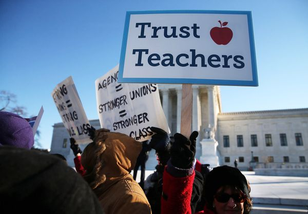 Protesters outside the Supreme Court today demonstrating for the California Teachers Association's side.