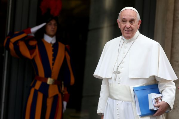 Pope Francis arrives at the Synod Hall for a session of Synod on The Themes Of Family on October 20, 2015 in Vatican City.