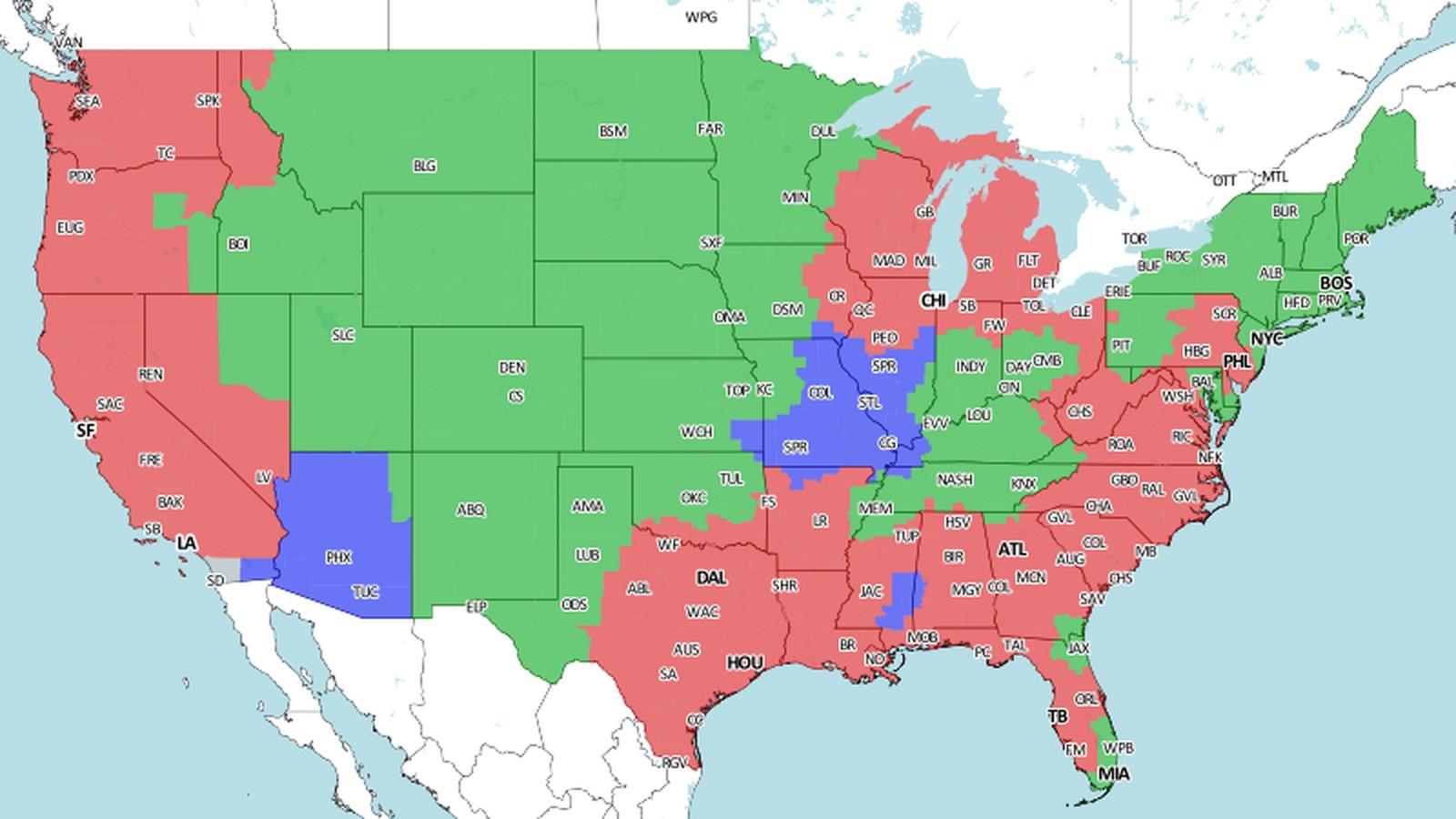 Nfl Week 4 Broadcast Map Turf Show Times
