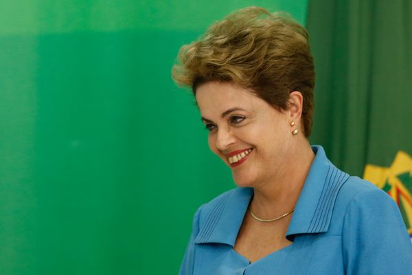 Brazilian President Dilma Rousseff at a press conference on April 18.