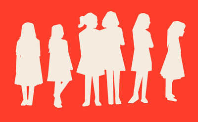 Illustration of silhouettes of schoolgirls.