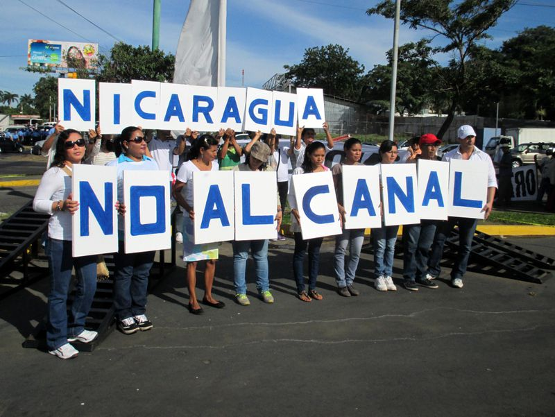 Thousands of demonstrators march against the 173-mile Interoceanic Grand Canal that they say will negatively impact the environment, communities and Nicaraguan sovereignty, in Managua, Nicaragua December 10, 2014. (Photo by Sandra Cuffe/Anadolu Agency/Getty Images)