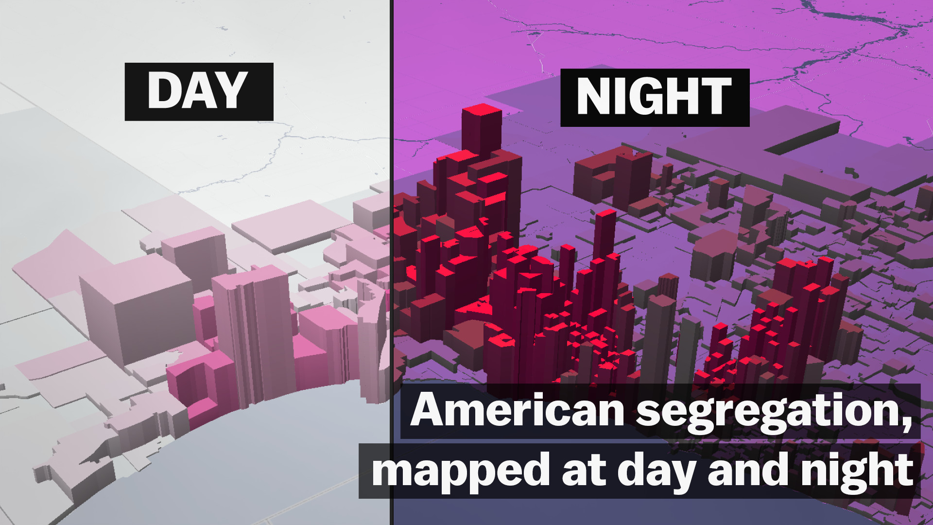 Map Of Americas Racial Segregation.American Segregation Mapped At Day And Night Vox