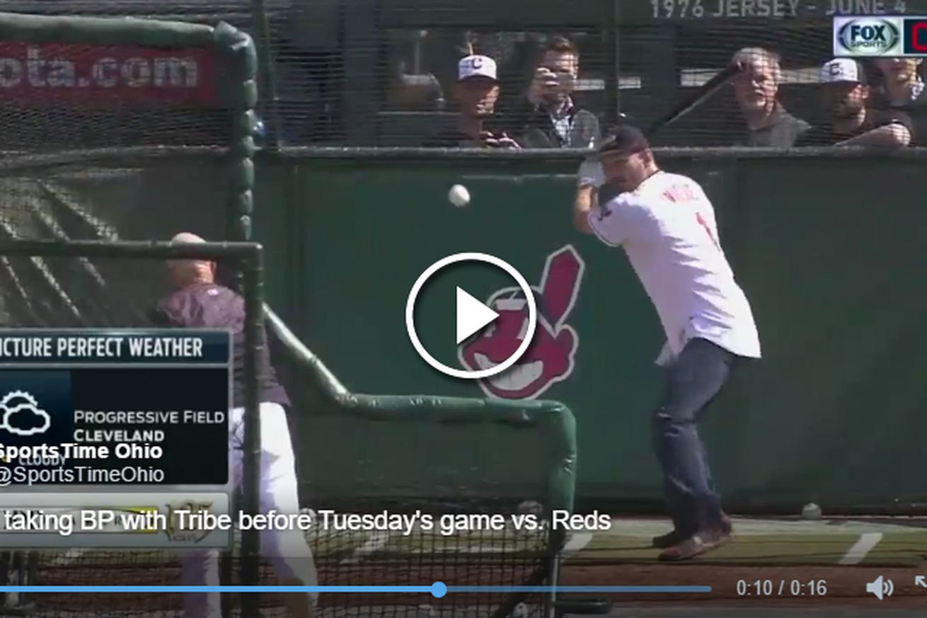 Video: UFC champ Stipe Miocic hits towering home run during Cleveland Indians batting practice