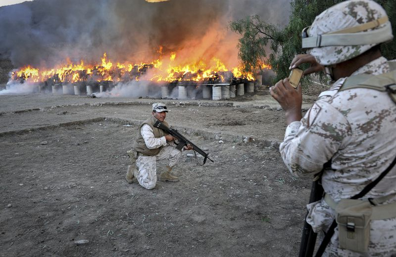 Mexico army marijuana burn
