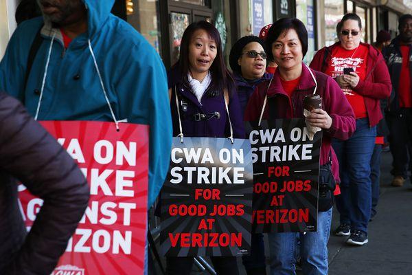 Striking Verizon workers in New York City.