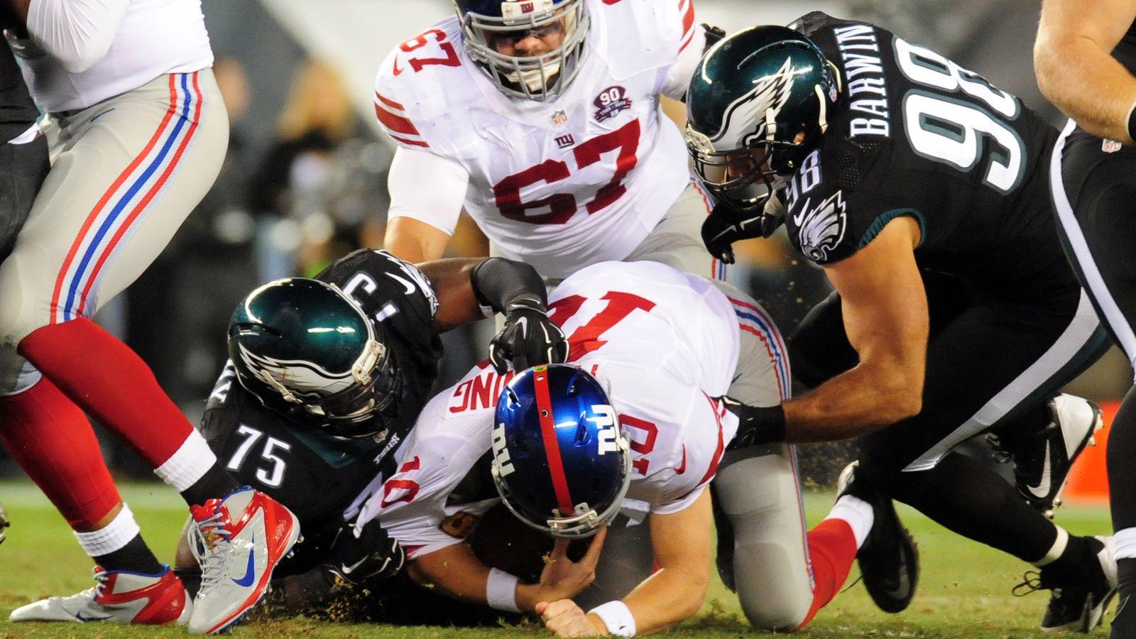 giants versus eagles score college football lines week 6