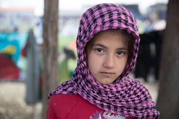 Shaharzad Hassan, a refugee from Aleppo, Syria, in Idomeni, Greece.