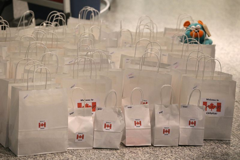Welcome bags assembled by a Canadian group for Syrian refugees.